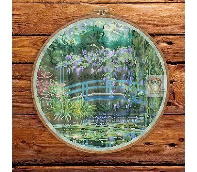 Japanese Bridge Monet cross stitch pattern