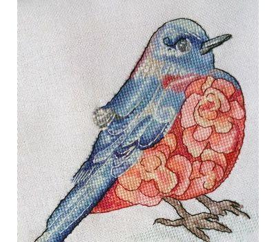 Modern Cross Stitch Pattern Purple Bird ready stitched work