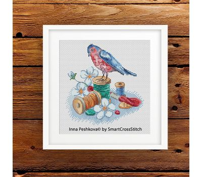 bird and Needles cross stitch pattern