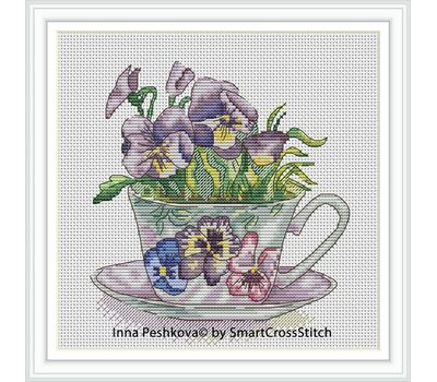 Pansies Flowers Cross Stitch chart