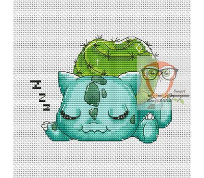 Pokemon Cross stitch pattern Bulbasaur & Apple}