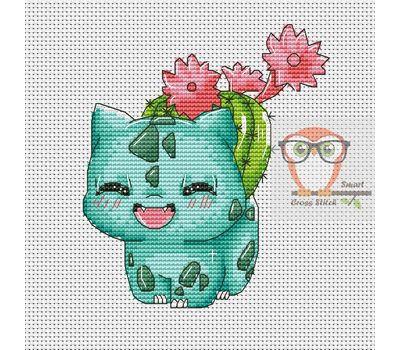 Pokemon Cross stitch pattern Bulbasaur & Red Cactus}