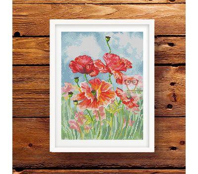 Poppies Field  Floral cross stitch pattern}