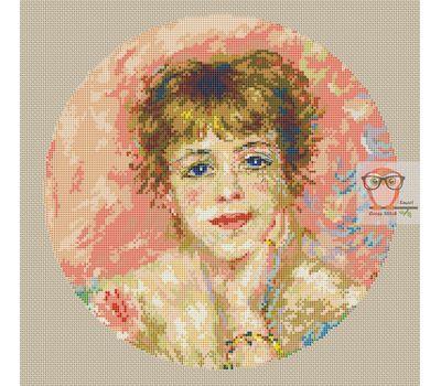 Portrait of Jeanne Samary by Renoir cross stitch chart