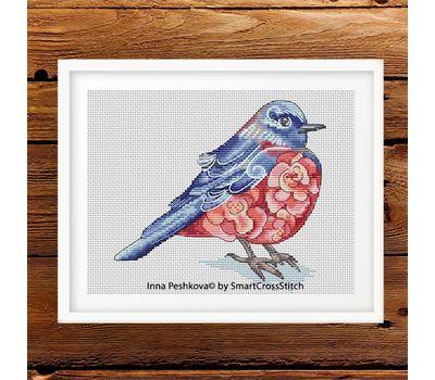 Modern Cross Stitch Pattern Purple Bird