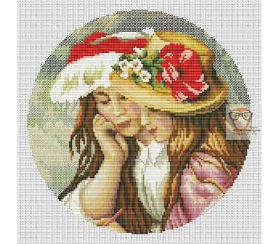 Two sisters by Renoir cross stitch chart