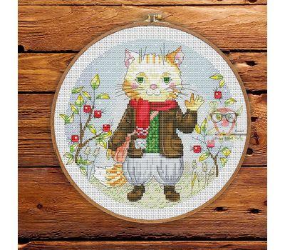 Round cross stitch chart Funny Cat