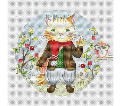 Round Cross stitch pattern Funny Cat}