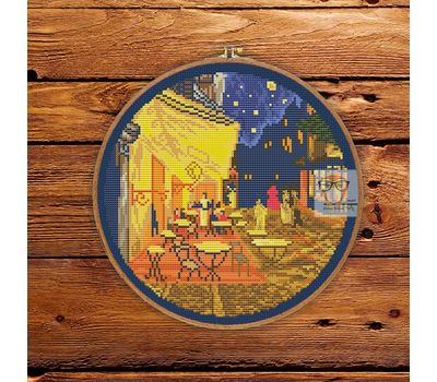 Van Gogh cross stitch pattern Cafe Terrace at Night