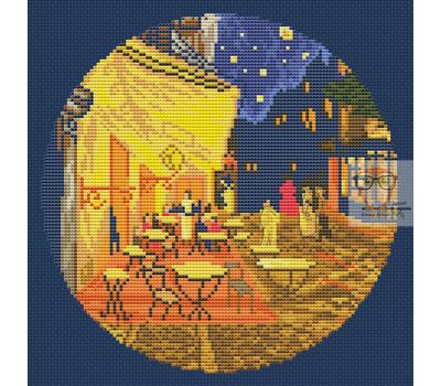 Van Gogh cross stitch pattern Terrasse du cafe le soir