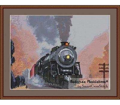 Train cross stitch pattern framed