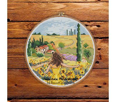 Tuscany fields Travel Round cross stitch chart