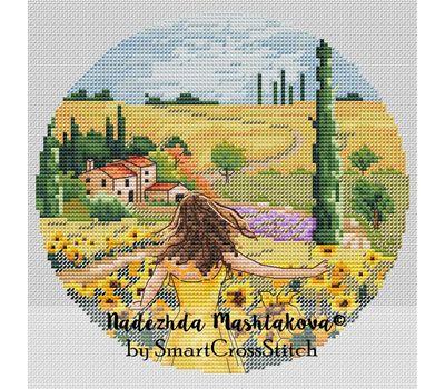 Tuscany fields Travel Round cross stitch pattern