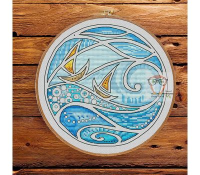 Wave cross stitch pattern Boat