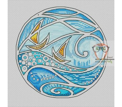 Wave cross stitch chart Boat