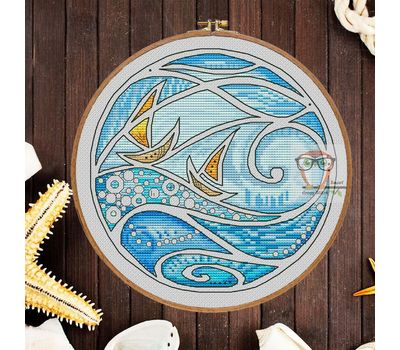 Blue sea round  cross stitch pattern