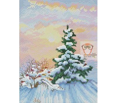 Winter Cross stitch pattern Forest Fir}