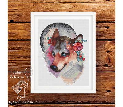 Fantasy Wolf The Moon Keeper Cross stitch chart framed