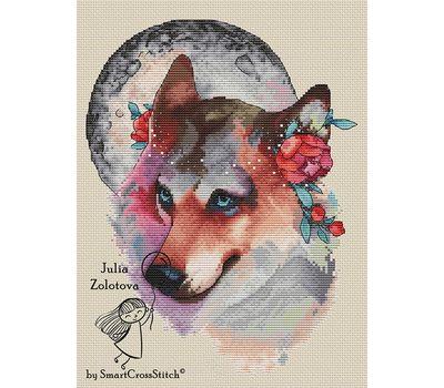 Wolf The Moon Keeper Cross stitch pattern cream canvas