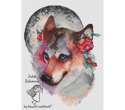 Wolf The Moon Keeper Cross stitch pattern white canvas