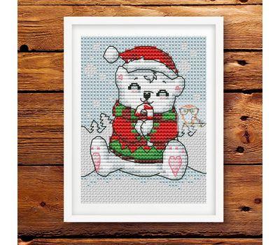 Xmas Card Teddy Bear Cross stitch pattern}