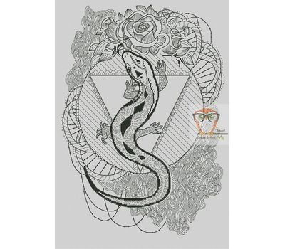 Lizard Blackwork cross stitch chart