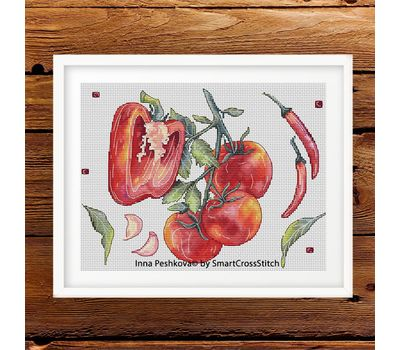 Peppers and tomatoes Kitchen Cross stitch pattern framed work