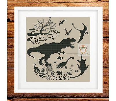 Dinosaurs Prehistoric world cross stitch chart - cream canvas