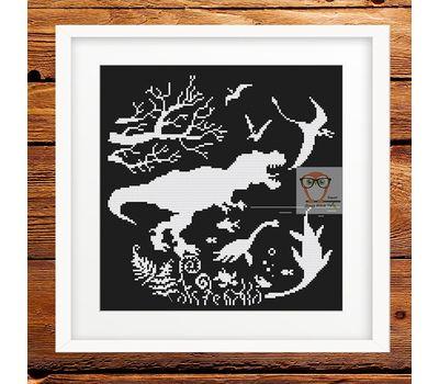 Dinosaurs Prehistoric world cross stitch pattern - black canvas