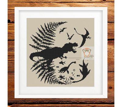 Dinosaurs Prehistoric world cross stitch pattern - cream canvas