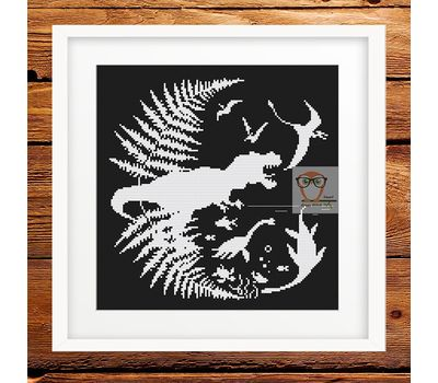 Dinosaurs Prehistoric world cross stitch chart - black canvas