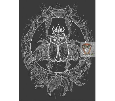 Scarab Blackwork cross stitch pattern black canvas