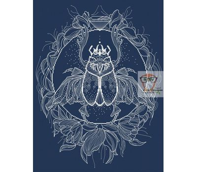 Scarab Blackwork cross stitch pattern blue canvas