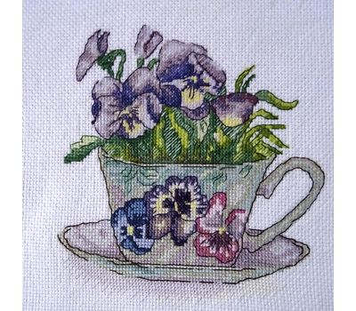 Pansies Flowers  in the cup Cross Stitch Pattern