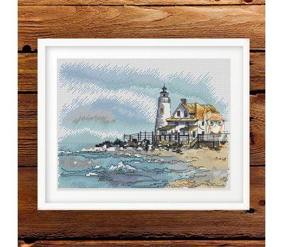 Cove Point Lighthouse Cross Stitch Pattern framed