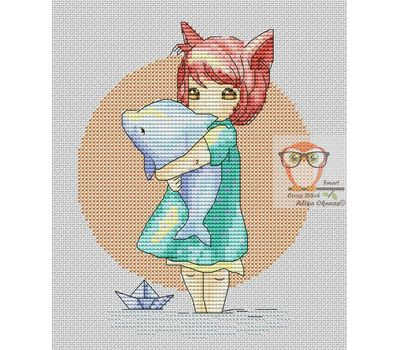 Little Girl with Dolphin Free cross stitch chart