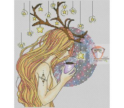 Deer Girl Free cross stitch chart