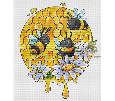 Funny Bees Round Cross stitch chart