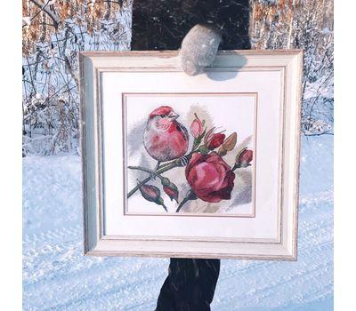 Bird & Roses Floral cross stitch pattern framed ready