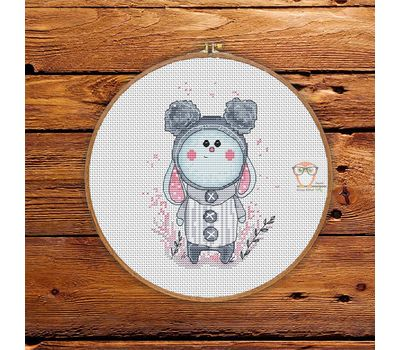 Little Cute Bunny Cross stitch round pattern