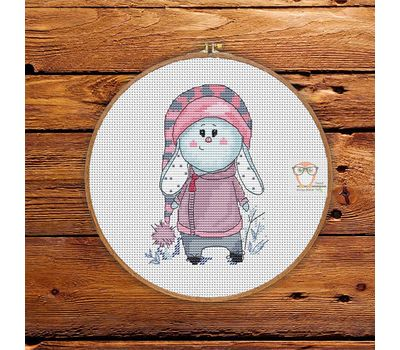 Little Pink Bunny round Cross stitch pattern