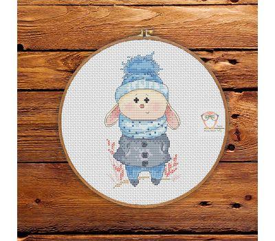 Little Blue Bunny Round Cross stitch pattern