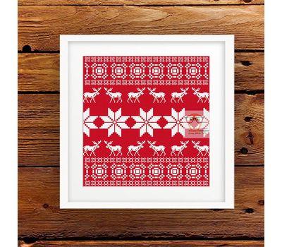 Deer Cushion Ornament free cross stitch pattern - red canvas