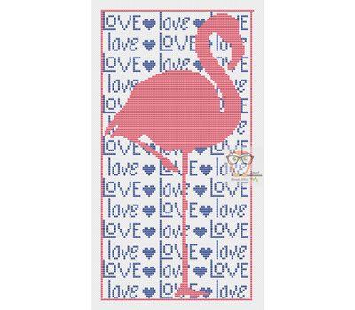 Wedding Flamingo Love free cross stitch chart