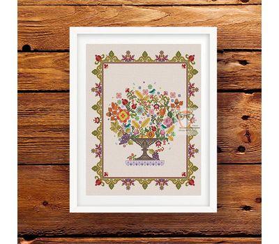 Flower Vase cross stitch pattern cream canvasFlower Vase cross stitch pattern