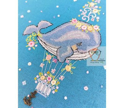 Flower Whale Embroidery chart