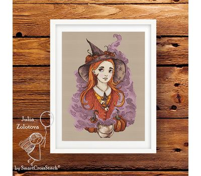 Halloween Forest Witch cross stitch pattern