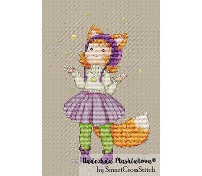 Cure Fox Girl cross stitch pattern