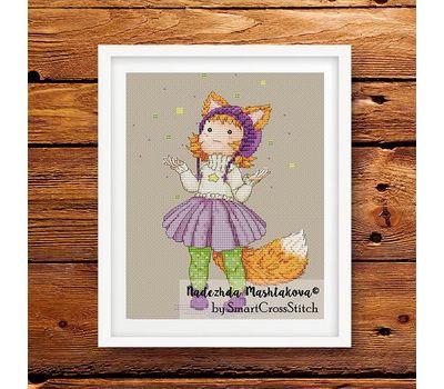 Cure Fox Girl cross stitch pattern framed