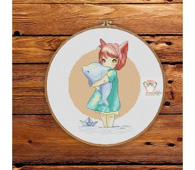 Little Girl with Dolphin Free cross stitch pattern